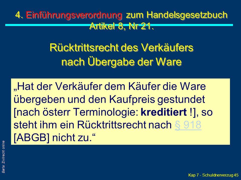 Kap 7 - Schuldnerverzug 45 Barta: Zivilrecht online 4.