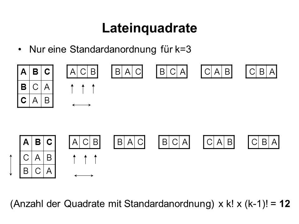 Lateinquadrate Standardanordnung, k=4 ABCD BADC CDBA DCAB ABCD BCDA CDAB DABC ABCD BDAC CADB DCBA ABCD BADC CDAB DCBA Jedes dieser Quadrate führt bei Festhalten der ersten Zeile auf 6 mögliche Permutationen der Zeilen 2 - 4.