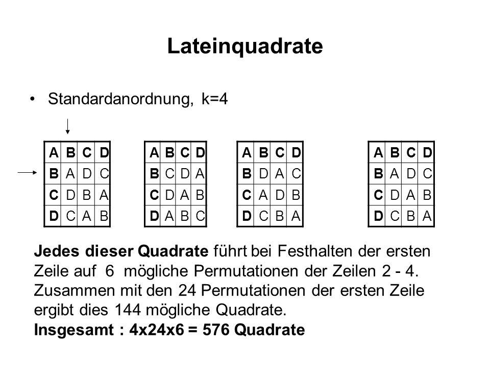 Lateinquadrate Standardanordnung, k=4 ABCD BADC CDBA DCAB ABCD BCDA CDAB DABC ABCD BDAC CADB DCBA ABCD BADC CDAB DCBA Jedes dieser Quadrate führt bei