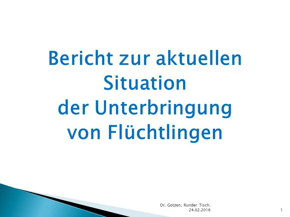 Bericht zur aktuellen Situation der Unterbringung von Flüchtlingen Dr. Gotzen, Runder Tisch. 24.02.20161