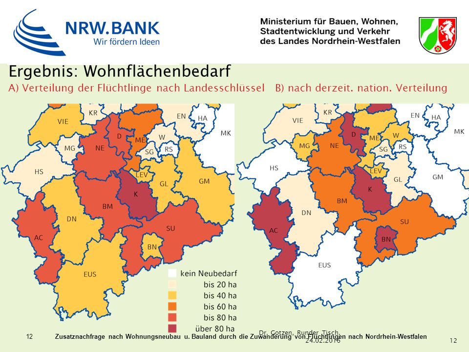 12 Zusatznachfrage nach Wohnungsneubau u. Bauland durch die Zuwanderung von Flüchtlingen nach Nordrhein-Westfalen Ergebnis: Wohnflächenbedarf A) Verte
