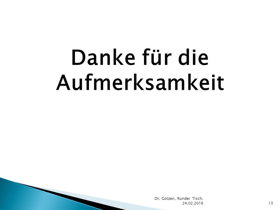 Danke für die Aufmerksamkeit Dr. Gotzen, Runder Tisch. 24.02.201613