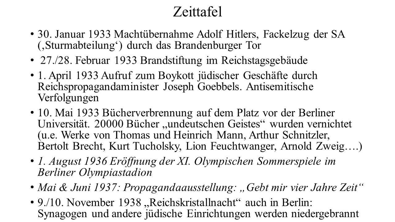 Zeittafel 30. Januar 1933 Machtübernahme Adolf Hitlers, Fackelzug der SA ('Sturmabteilung') durch das Brandenburger Tor 27./28. Februar 1933 Brandstif