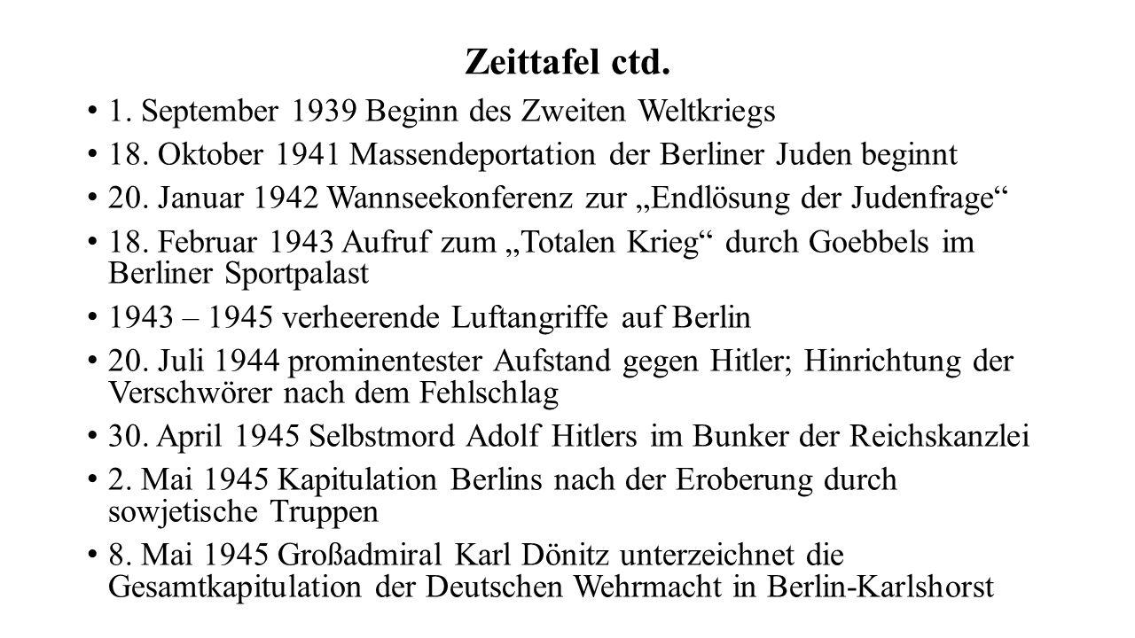 Zeittafel ctd. 1. September 1939 Beginn des Zweiten Weltkriegs 18. Oktober 1941 Massendeportation der Berliner Juden beginnt 20. Januar 1942 Wannseeko