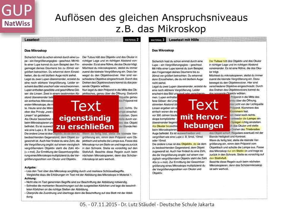 Auflösen des gleichen Anspruchsniveaus z.B. das Mikroskop Text eigenständig zu erschließen 05. - 07.11.2015 - Dr. Lutz Stäudel - Deutsche Schule Jakar