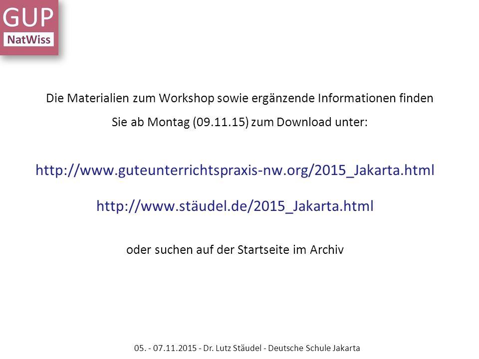 Die Materialien zum Workshop sowie ergänzende Informationen finden Sie ab Montag (09.11.15) zum Download unter: http://www.guteunterrichtspraxis-nw.or