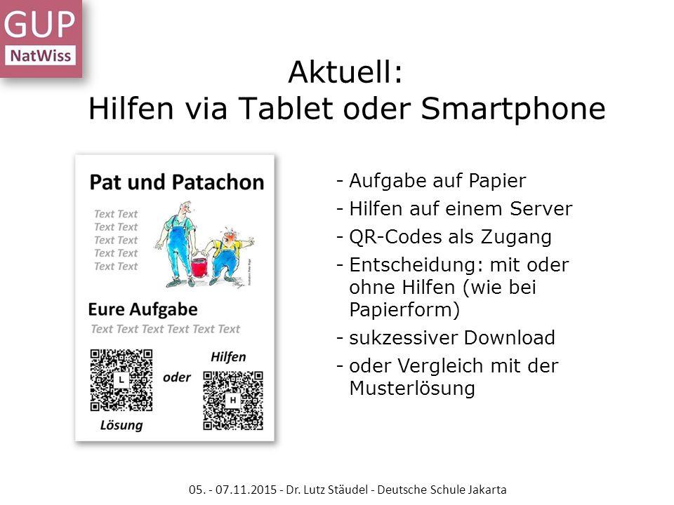 Aktuell: Hilfen via Tablet oder Smartphone -Aufgabe auf Papier -Hilfen auf einem Server -QR-Codes als Zugang -Entscheidung: mit oder ohne Hilfen (wie