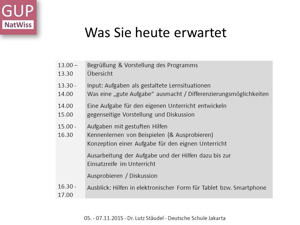 13.00 – 13.30 13.30 - 14.00 14.00 15.00 15.00 - 16.30 16.30 - 17.00 Begrüßung & Vorstellung des Programms Übersicht Input: Aufgaben als gestaltete Ler
