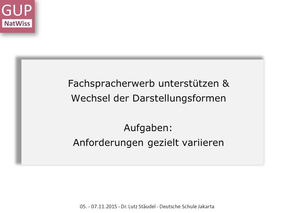 Fachspracherwerb unterstützen & Wechsel der Darstellungsformen Aufgaben: Anforderungen gezielt variieren 05. - 07.11.2015 - Dr. Lutz Stäudel - Deutsch