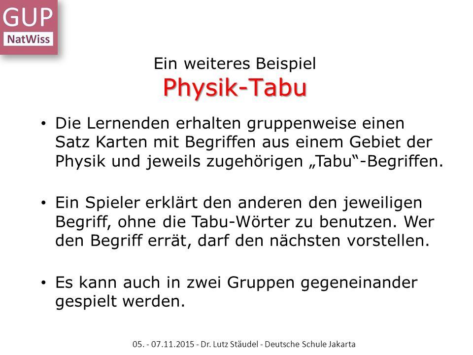 Physik-Tabu Ein weiteres Beispiel Physik-Tabu Die Lernenden erhalten gruppenweise einen Satz Karten mit Begriffen aus einem Gebiet der Physik und jewe