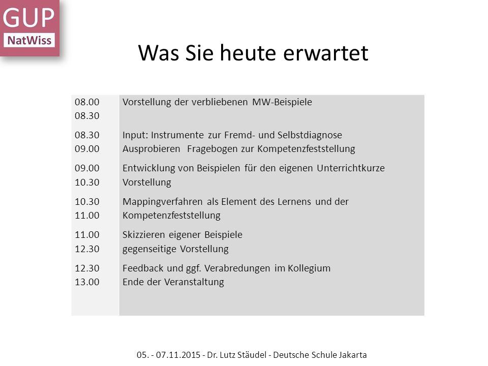 08.00 08.30 08.30 09.00 09.00 10.30 10.30 11.00 11.00 12.30 12.30 13.00 Vorstellung der verbliebenen MW-Beispiele Input: Instrumente zur Fremd- und Se