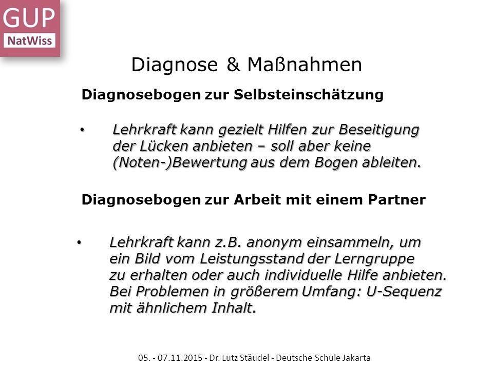 Diagnosebogen zur Selbsteinschätzung Diagnosebogen zur Arbeit mit einem Partner Lehrkraft kann gezielt Hilfen zur Beseitigung der Lücken anbieten – so