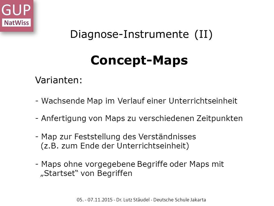 Diagnose-Instrumente (II) Concept-Maps Varianten: - Wachsende Map im Verlauf einer Unterrichtseinheit - Anfertigung von Maps zu verschiedenen Zeitpunk