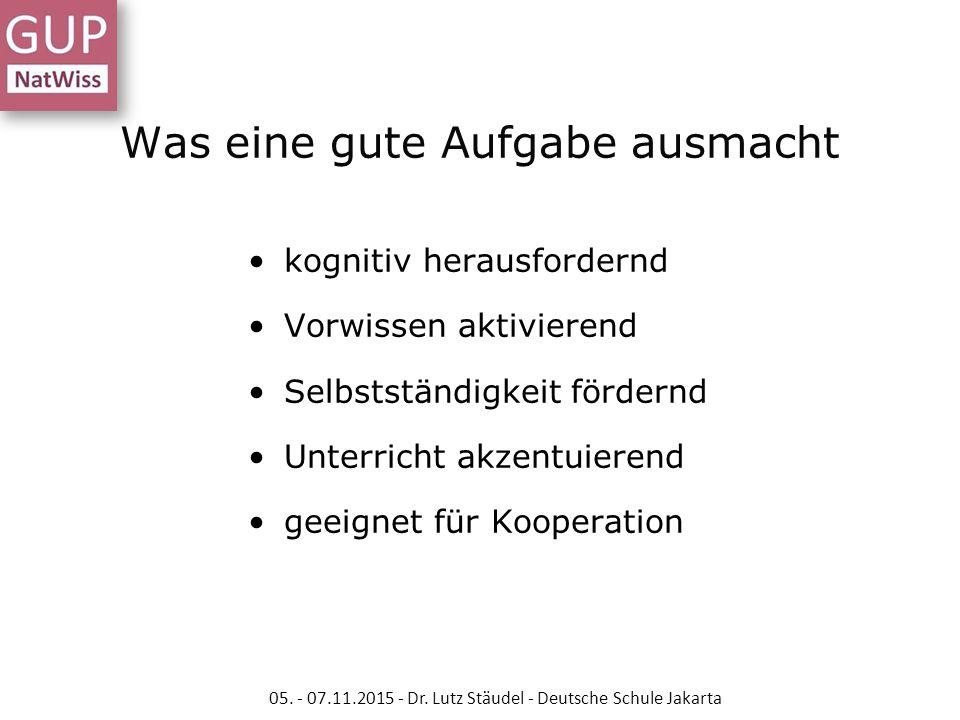 Aufgaben VERSUS Arbeitsaufträge 05.- 07.11.2015 - Dr.