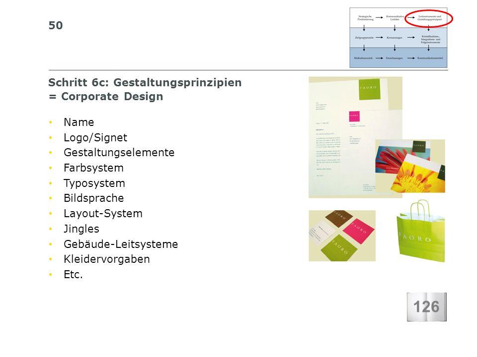 50 S I BS I B S C H W E I Z E R I S C H E S I N S T I T U T F Ü R B E T R I E B S Ö K O N O M I E Schritt 6c: Gestaltungsprinzipien = Corporate Design