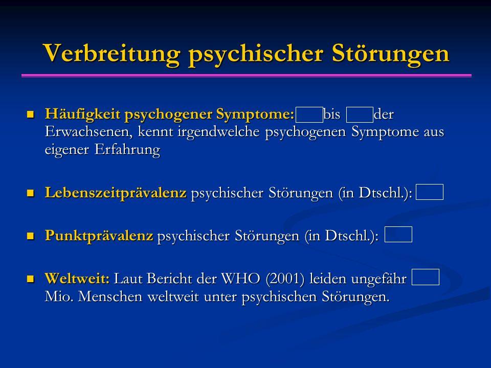 Verbreitung psychischer Störungen Häufigkeit psychogener Symptome: bis der Erwachsenen, kennt irgendwelche psychogenen Symptome aus eigener Erfahrung Häufigkeit psychogener Symptome: bis der Erwachsenen, kennt irgendwelche psychogenen Symptome aus eigener Erfahrung Lebenszeitprävalenz psychischer Störungen (in Dtschl.): Lebenszeitprävalenz psychischer Störungen (in Dtschl.): Punktprävalenz psychischer Störungen (in Dtschl.): Punktprävalenz psychischer Störungen (in Dtschl.): Weltweit: Laut Bericht der WHO (2001) leiden ungefähr Mio.