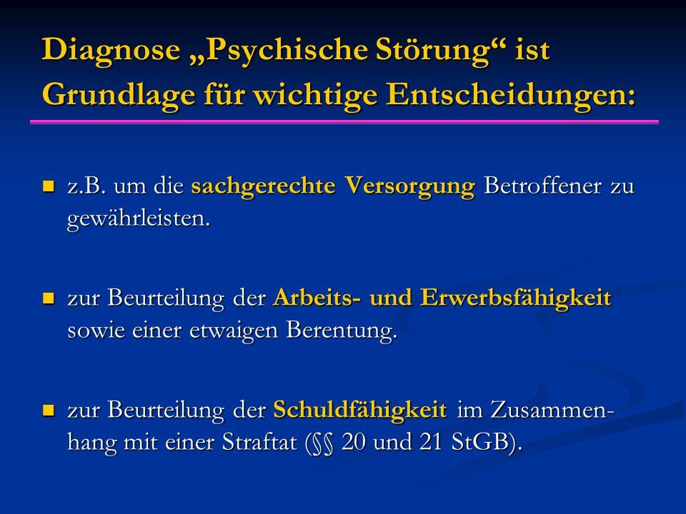 """Diagnose """"Psychische Störung"""" ist Grundlage für wichtige Entscheidungen: z.B. um die sachgerechte Versorgung Betroffener zu gewährleisten. z.B. um die"""