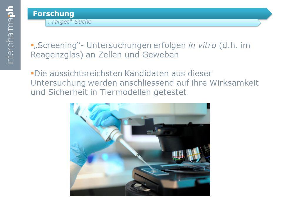 "Forschung ""Target -Suche  ""Screening - Untersuchungen erfolgen in vitro (d.h."