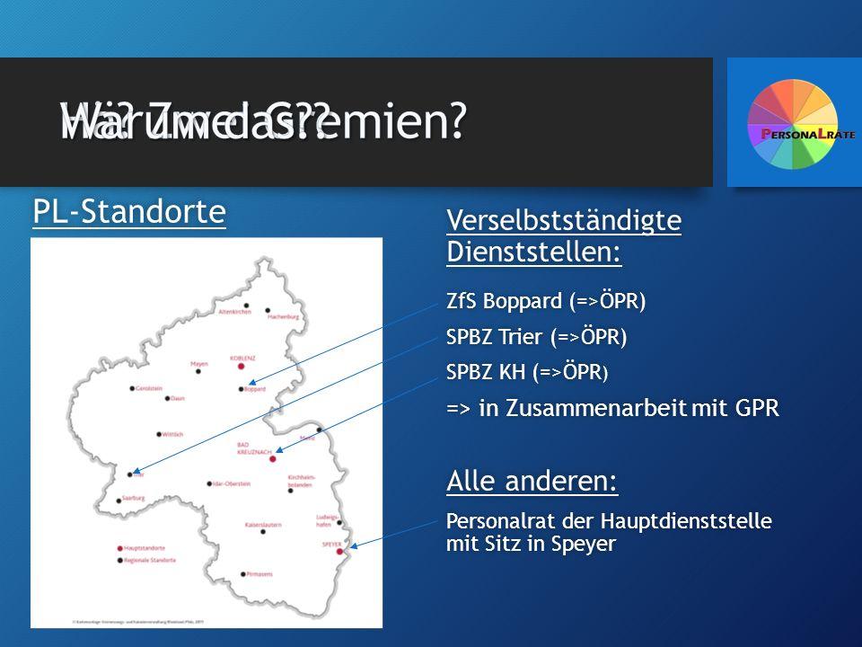 Verselbstständigte Dienststellen: ZfS Boppard (=>ÖPR)ZfS Boppard (=>ÖPR) SPBZ Trier (=>ÖPR)SPBZ Trier (=>ÖPR) SPBZ KH (=>ÖPR ) => in Zusammenarbeit mi