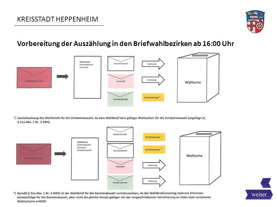 KREISSTADT HEPPENHEIM Vorbereitung der Auszählung in den Briefwahlbezirken ab 16:00 Uhr