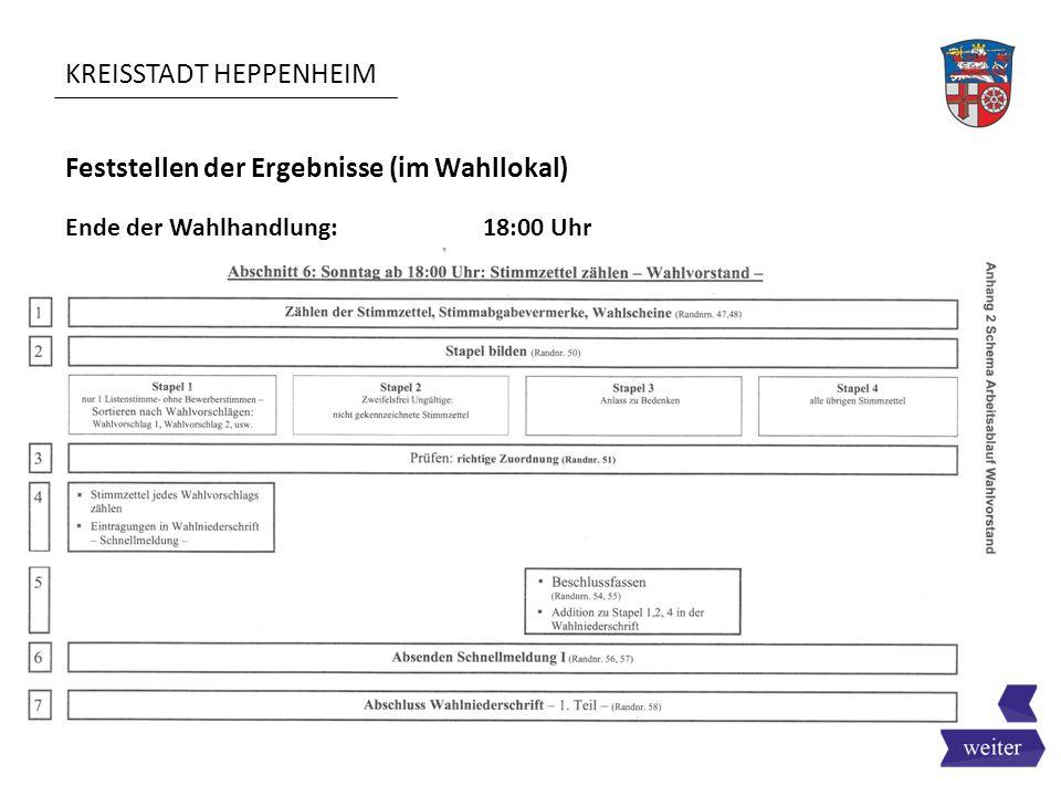 KREISSTADT HEPPENHEIM Feststellen der Ergebnisse (im Wahllokal) Ende der Wahlhandlung:18:00 Uhr
