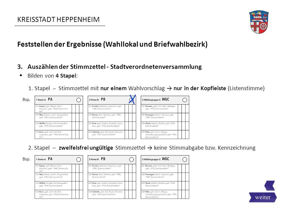 KREISSTADT HEPPENHEIM Feststellen der Ergebnisse (Wahllokal und Briefwahlbezirk)  Bilden von 4 Stapel: 3. Auszählen der Stimmzettel - Stadtverordnete