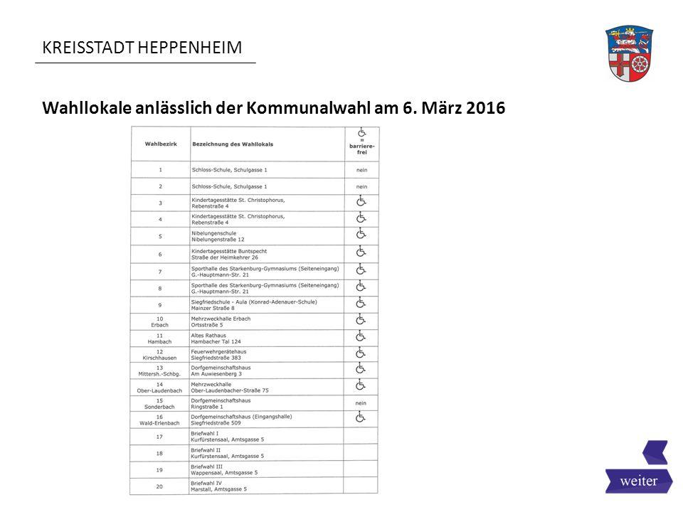 KREISSTADT HEPPENHEIM Wahllokale anlässlich der Kommunalwahl am 6. März 2016