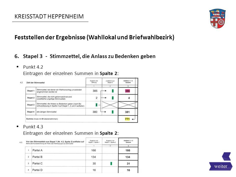 KREISSTADT HEPPENHEIM Feststellen der Ergebnisse (Wahllokal und Briefwahlbezirk) 6. Stapel 3 - Stimmzettel, die Anlass zu Bedenken geben  Punkt 4.2 E