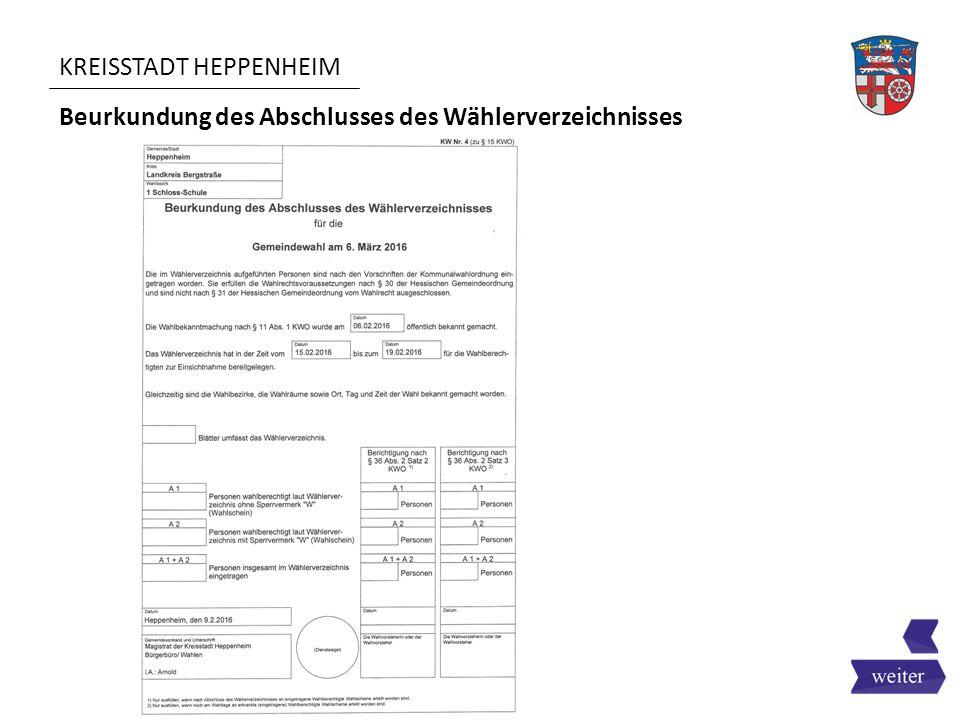 KREISSTADT HEPPENHEIM Beurkundung des Abschlusses des Wählerverzeichnisses
