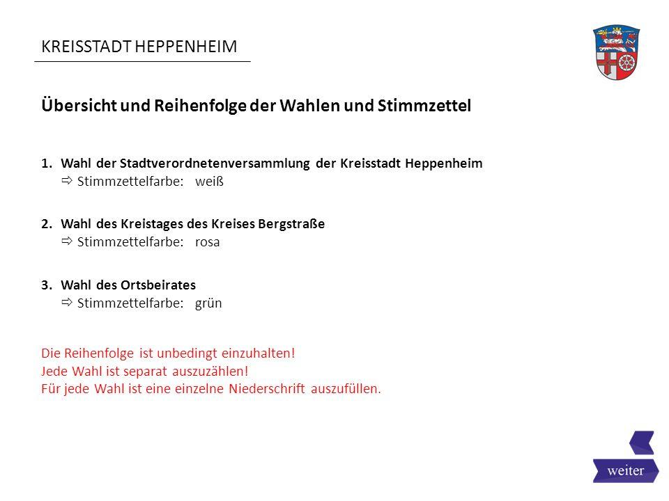KREISSTADT HEPPENHEIM Übersicht und Reihenfolge der Wahlen und Stimmzettel 1.Wahl der Stadtverordnetenversammlung der Kreisstadt Heppenheim  Stimmzet