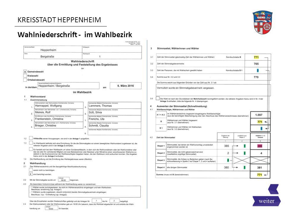 KREISSTADT HEPPENHEIM Wahlniederschrift - im Wahlbezirk