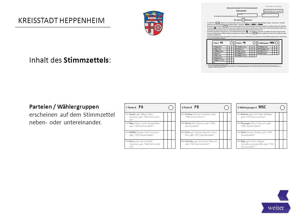 KREISSTADT HEPPENHEIM Inhalt des Stimmzettels: Parteien / Wählergruppen erscheinen auf dem Stimmzettel neben- oder untereinander.