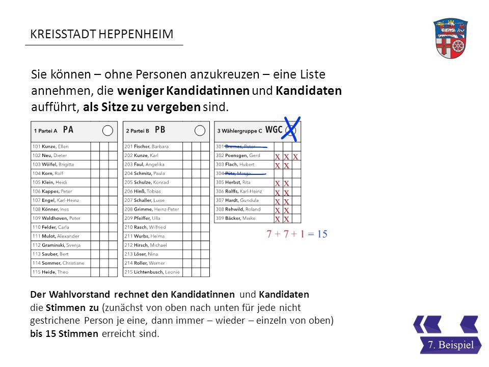 KREISSTADT HEPPENHEIM Sie können – ohne Personen anzukreuzen – eine Liste annehmen, die weniger Kandidatinnen und Kandidaten aufführt, als Sitze zu ve