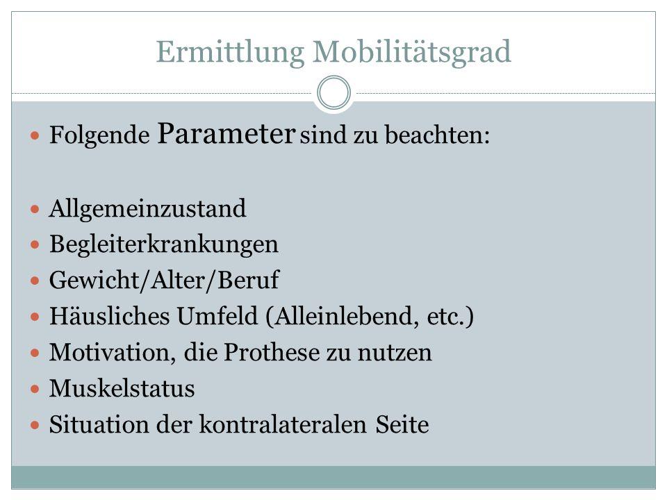 Ermittlung Mobilitätsgrad Folgende Parameter sind zu beachten: Allgemeinzustand Begleiterkrankungen Gewicht/Alter/Beruf Häusliches Umfeld (Alleinleben