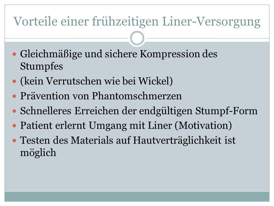 Vorteile einer frühzeitigen Liner-Versorgung Gleichmäßige und sichere Kompression des Stumpfes (kein Verrutschen wie bei Wickel) Prävention von Phanto