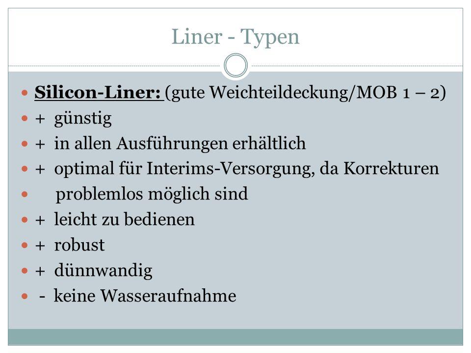 Liner - Typen Silicon-Liner: (gute Weichteildeckung/MOB 1 – 2) + günstig + in allen Ausführungen erhältlich + optimal für Interims-Versorgung, da Korr