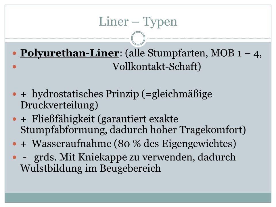 Liner – Typen Polyurethan-Liner: (alle Stumpfarten, MOB 1 – 4, Vollkontakt-Schaft) + hydrostatisches Prinzip (=gleichmäßige Druckverteilung) + Fließfä