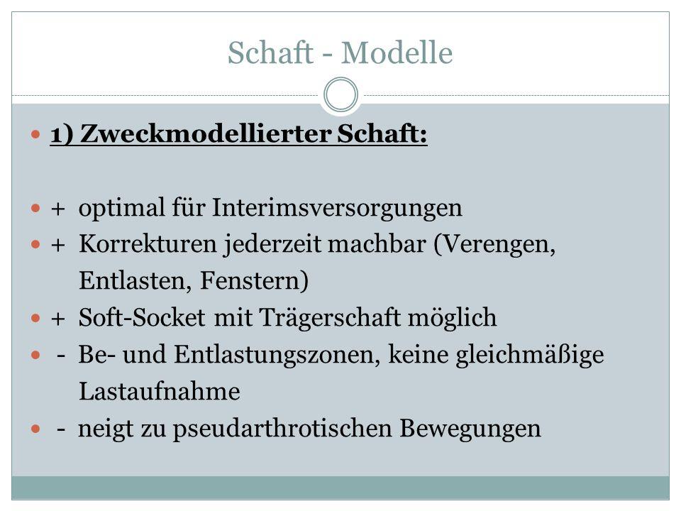 Schaft - Modelle 1) Zweckmodellierter Schaft: + optimal für Interimsversorgungen + Korrekturen jederzeit machbar (Verengen, Entlasten, Fenstern) + Sof