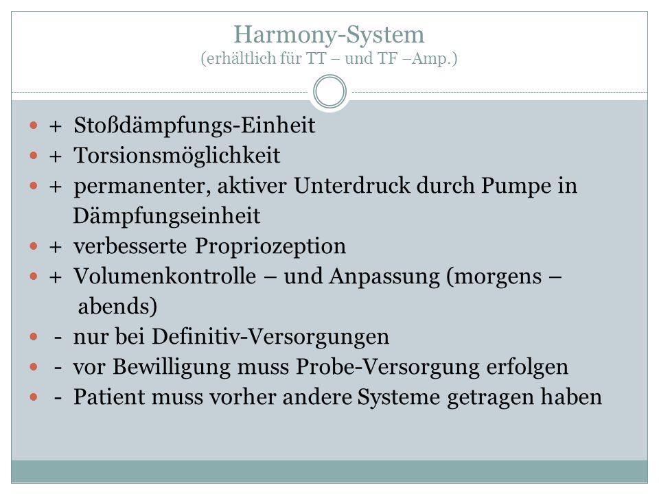 Harmony-System (erhältlich für TT – und TF –Amp.) + Stoßdämpfungs-Einheit + Torsionsmöglichkeit + permanenter, aktiver Unterdruck durch Pumpe in Dämpf
