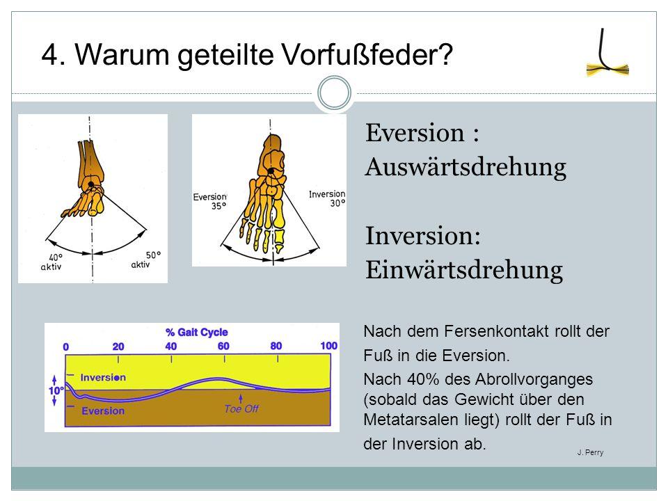 Eversion : Auswärtsdrehung Inversion: Einwärtsdrehung Nach dem Fersenkontakt rollt der Fuß in die Eversion. Nach 40% des Abrollvorganges (sobald das G