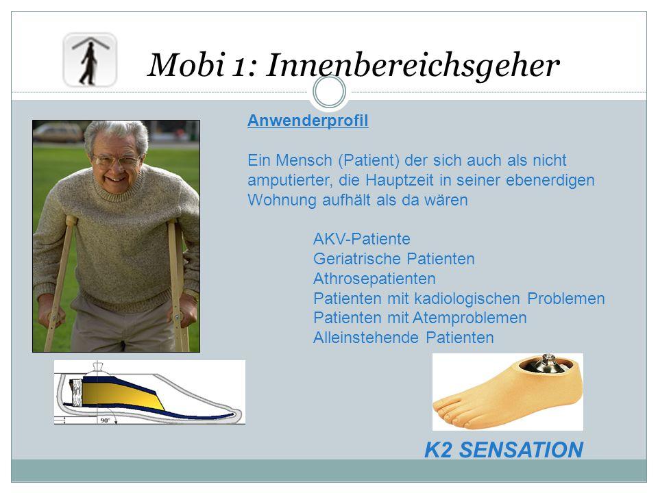 Mobi 1: Innenbereichsgeher Anwenderprofil Ein Mensch (Patient) der sich auch als nicht amputierter, die Hauptzeit in seiner ebenerdigen Wohnung aufhäl