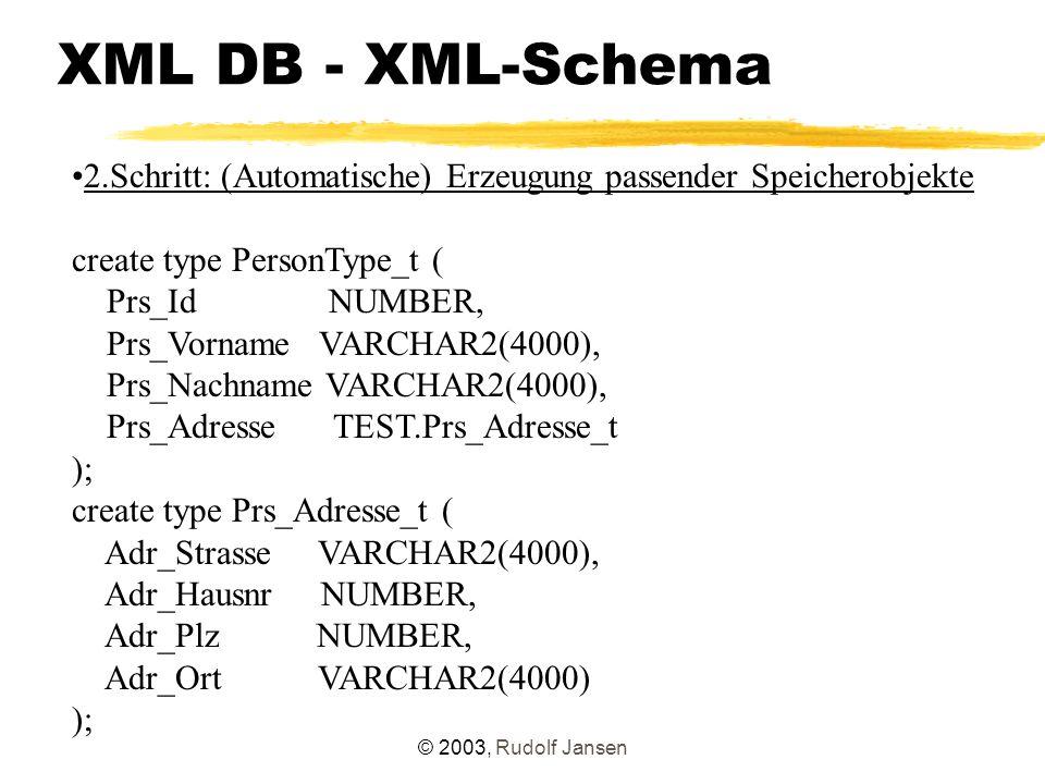 © 2003, Rudolf Jansen XML DB - XML-Schema 2.Schritt: (Automatische) Erzeugung passender Speicherobjekte create type PersonType_t ( Prs_Id NUMBER, Prs_Vorname VARCHAR2(4000), Prs_Nachname VARCHAR2(4000), Prs_Adresse TEST.Prs_Adresse_t ); create type Prs_Adresse_t ( Adr_Strasse VARCHAR2(4000), Adr_Hausnr NUMBER, Adr_Plz NUMBER, Adr_Ort VARCHAR2(4000) );