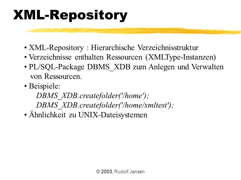 © 2003, Rudolf Jansen XML-Repository XML-Repository : Hierarchische Verzeichnisstruktur Verzeichnisse enthalten Ressourcen (XMLType-Instanzen) PL/SQL-Package DBMS_XDB zum Anlegen und Verwalten von Ressourcen.