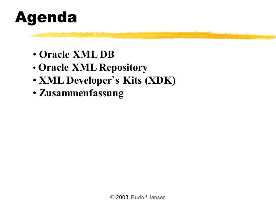 """© 2003, Rudolf Jansen XML-Repository Weitere Funktionen (analog UNIX) Anlegen von Links DBMS_XDB.link( /home/xmltest/adressenliste.xml , /public , adressenliste.xml ); Sicherheitskonzept: – Rechtevergabe über Access Control Lists (ACL) – Rechte pro Ressource oder auch für komplette Teilbäume XML DB Versioning: – """"Versionskontrolle in der Datenbank – Verwaltung mehrerer Versionen von XML-Repository-Ressourcen – derzeit noch keine Versionskontrolle von normalen relationalen Datenbankinhalten"""