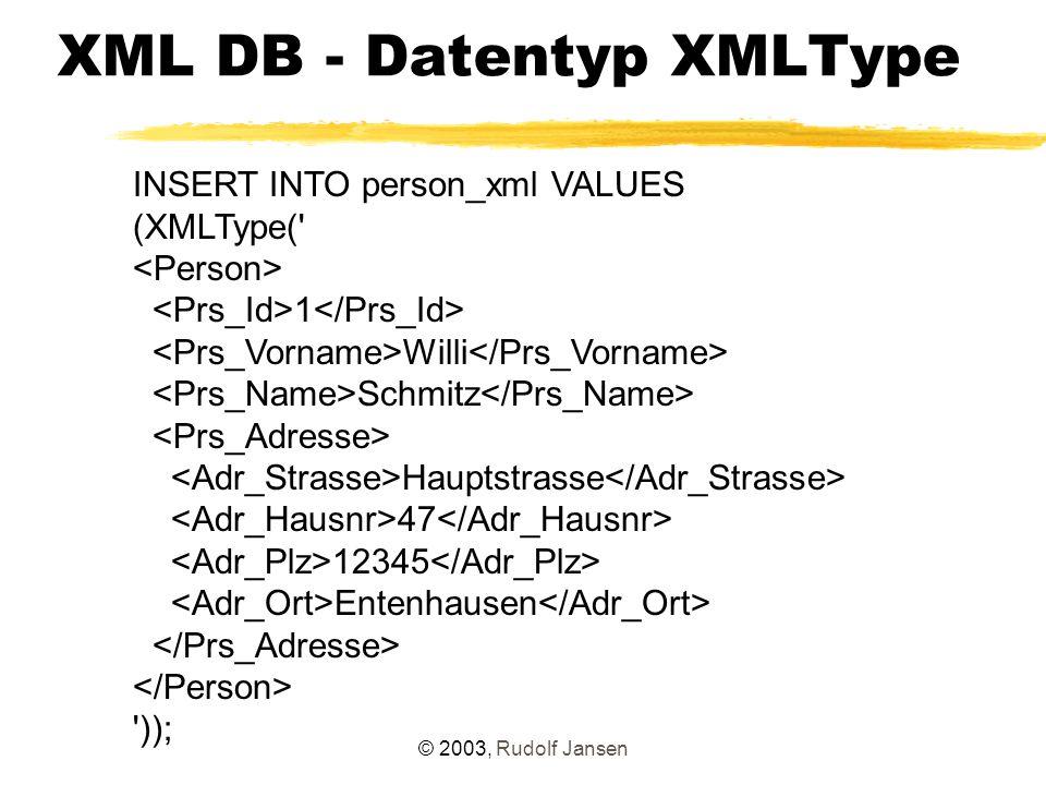 © 2003, Rudolf Jansen XML DB - Datentyp XMLType Indexbildung CREATE INDEX plz_index ON person (prs_data.extract ( /PRS_DATA//PRS_ADRESSE/ADR_PLZ/text() ).getNumberVal()); Validierungsmöglichkeiten - Constraints create table person ( prs_nr number, prs_data XMLTYPE NOT NULL ); - Trigger