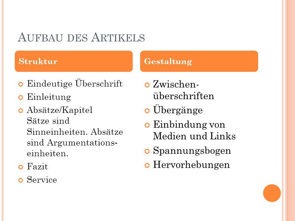 A UFBAU DES A RTIKELS Eindeutige Überschrift Einleitung Absätze/Kapitel Sätze sind Sinneinheiten. Absätze sind Argumentations- einheiten. Fazit Servic