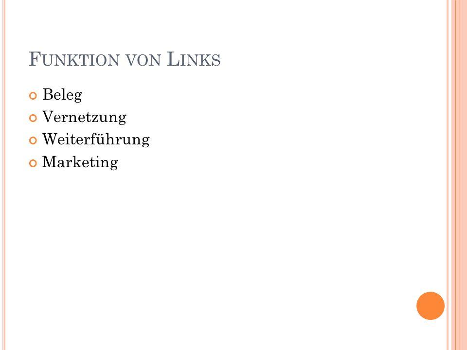 F UNKTION VON L INKS Beleg Vernetzung Weiterführung Marketing