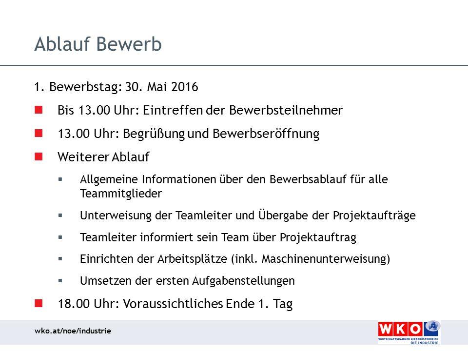 wko.at/noe/industrie Ablauf Bewerb 1. Bewerbstag: 30. Mai 2016 Bis 13.00 Uhr: Eintreffen der Bewerbsteilnehmer 13.00 Uhr: Begrüßung und Bewerbseröffnu