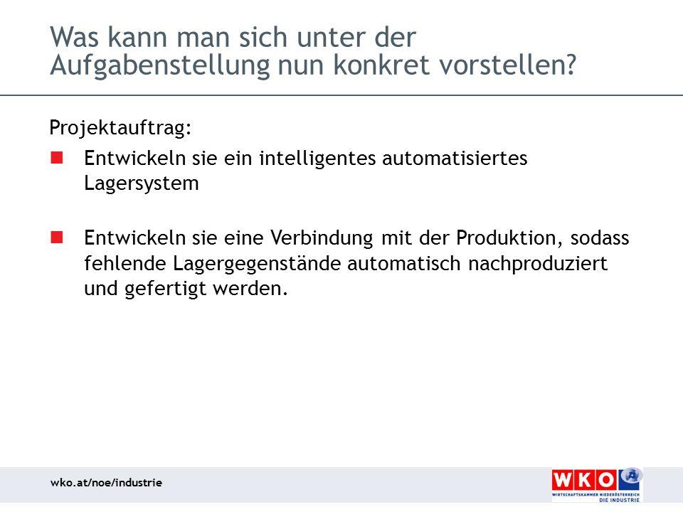 wko.at/noe/industrie Was kann man sich unter der Aufgabenstellung nun konkret vorstellen? Projektauftrag: Entwickeln sie ein intelligentes automatisie