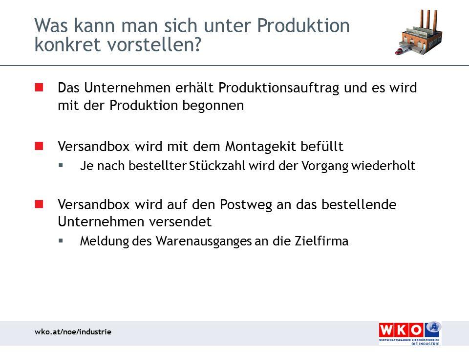 wko.at/noe/industrie Was kann man sich unter Produktion konkret vorstellen? Das Unternehmen erhält Produktionsauftrag und es wird mit der Produktion b